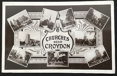 Churches Of Croydon Multiview Surrey Postcard
