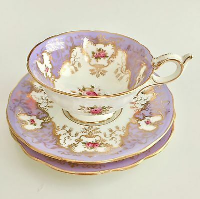 Coalport teacup trio with lilac, gilt and roses, 1881-1891