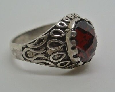 925K Sterling Silver Red Agate (Aqeeq) Men's Ring