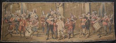 """vintage , Made in French brocade Wall Hanging Tapestry lords drum spears 55""""X19"""""""