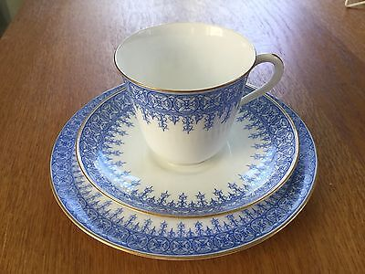 Antique Royal Worcester Tea Cup Saucer & Plate Trio Pale Blue c1900 W1970 a/f