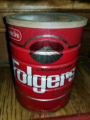 Vintage Folger's 2lb Coffee Can Steel tin Automatic Drip GROUND Mountain Grown