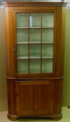 Early 19th Century PA 12 Pane 2 Piece Pine Corner Cupboard Cabinet