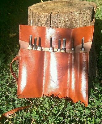 Pocket / Mini Bushcraft Survival Wood Carving / Whittling set 8pc+ Leather case