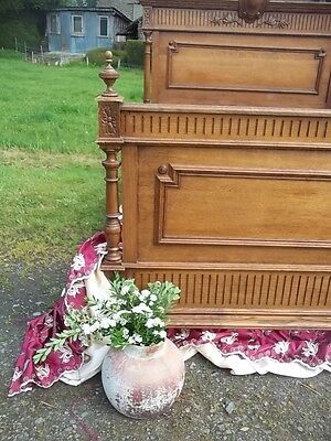 Amazing Antique French Henri 11 Style Double Bedstead Sturdy/ Substantial 1890 C