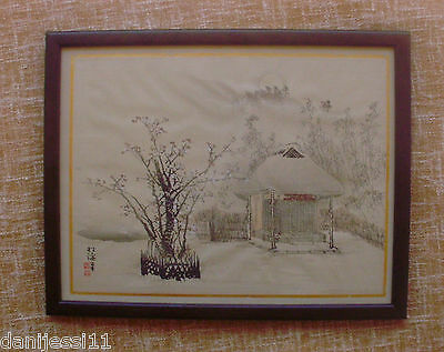 Woodblock Print of Meiji Era?, very good/Pintura de la época Meiji?, enmarcado
