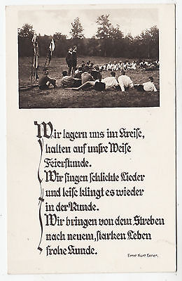 A YOUTH RALLY / CAMP - Patriotic Poem - Germany - c1930s era Real Photo postcard