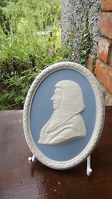 1978 Wedgwood Oval Plaque depicting Lord Denning  Blue & White Jasper Ware