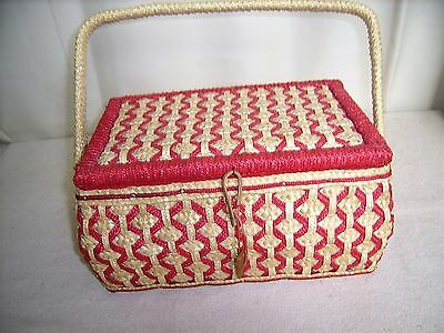 Vintage Woven Chinese Sewing Box,Red Sateen Lining- including sewing misc items
