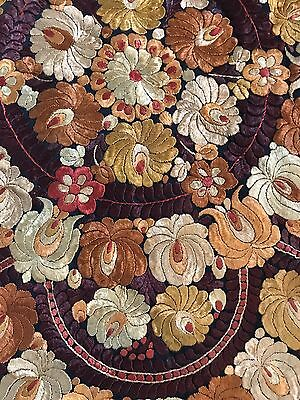 Vintage HUNGARIAN Silk Embroidered MATYO Tablecloth/ Shawl Round Art Nouveau