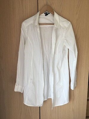 H&M White Maternity Long Shirt Size L