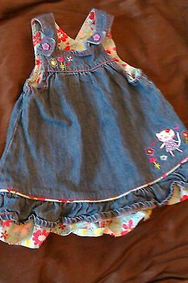 Debenhams Baby Girls Denim Dress 3 - 6 months Excellent Condition