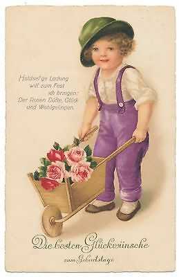 Euro Ellen Clapsaddle Beauty - Boy with Tipped Hat, Wheelbarrow Full of Roses