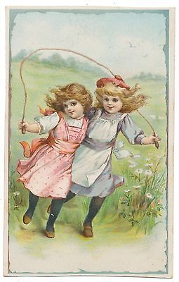 Frances Brundage Trade Card - Girls Skipping Rope, Insurance Ad on Back
