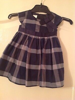 Baby Girls Navy Tartan Party/special Event Dress By Jasper Conran Age 0-3 Months