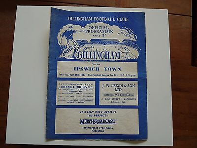 Gillingham v Ipswich Town Football Programme 12 January 1957