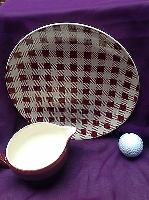 """Vintage Retro Myott Red Checkers 9"""" plate and red sauce jug art deco style"""