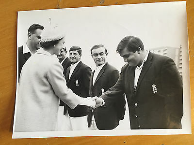 1968 Colin Milburn meeting the Queen Eng v Australia Lords S&G Press Photograph