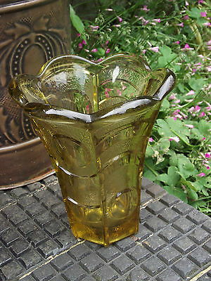Hermanova Hut ? - Amber Mid Century Glass Vase Large & Heavy