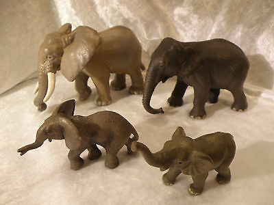 Schleich World Of Nature Elephant Family Bull Cow 2 Calves Very Nice Lot Of 4