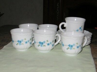 Lot De 6 Tasses Et  Soucoupes   Arcopal Veronica Myosotis