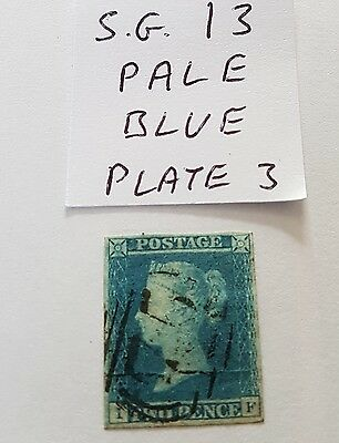 gb stamps QV 1841 2d pale blue sg 13 plate 3 nice used
