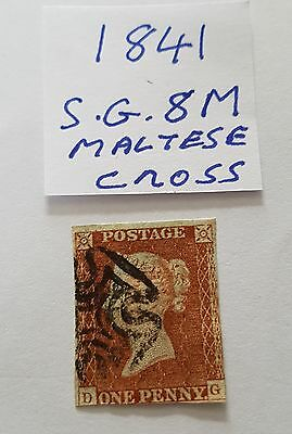 gb stamps QV 1841 1d red brown sg 8 Maltese cross postmark