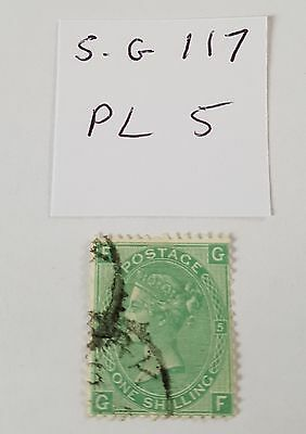 gb stamps QV 1867/80 1s green sg 117 plate 5 nice used