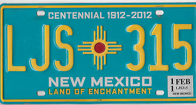 2011 Natural Authentic New Mexico Usa Centennial License Plate # Ljs 315  Nice