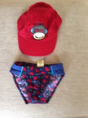 Tiny Ted  Boys Blue Swimming Briefs 18-24 months Plus Debenhams red cap 12-24mth