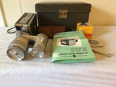 VINTAGE KEYSTONE OLYMPIC 8mm CAMERA W/CASE , MANUALS & LENSES