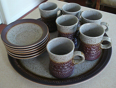 Vintage Retro Purbeck Pottery Stoneware Portland 6 piece Coffee Set
