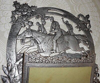 Large 1900 Victorian Embossed Die Cut 3-D Pop Out Sign Fox Hunt On Horses Nos