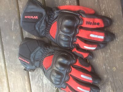 Weise Armoured Motorcycle Gloves Size Large Leather And Textile Look!