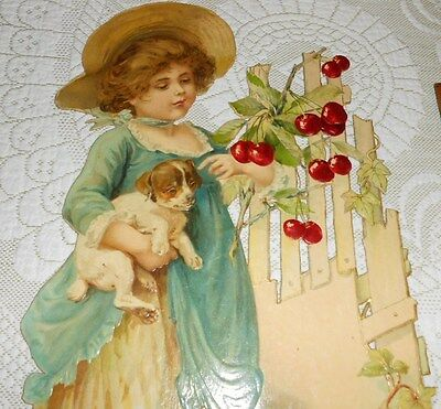 Large 1900 Victorian Embossed Die Cut Adv Sign Girl & Puppy Dog New Old Stock
