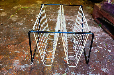 Vintage Atomic Wire Framed Newspaper Magazine Rack 1970's