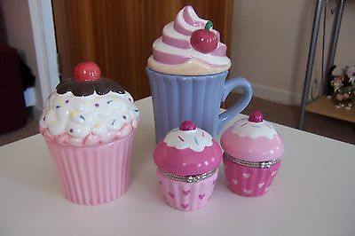 Ceramic cupcake mug and trinket boxes