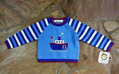 NEW Hand Knit Zubels Tugboat Sweater 4 4T Boys Blue Spring
