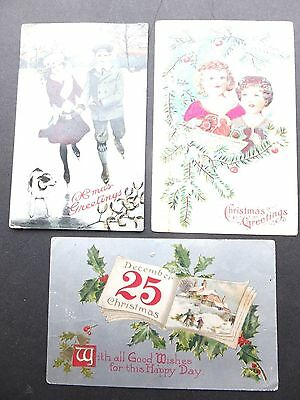 Set of Three Early Christmas theme postacrds.  Posted, Beeton Ontario,  Ca. 1910