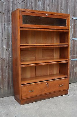 Vintage Walnut Stacking Style Bookcase + Drawer + Glazed Top Compartment Keys