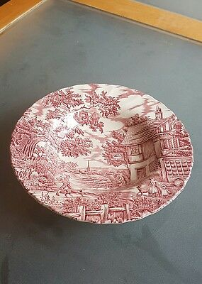"vintage Myott red and white bowl ""The Hunter"""
