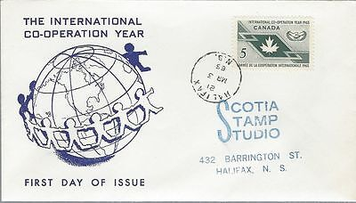 1965 #437 International Co-Operation Year FDC with Scotia Stamp Studio cachet