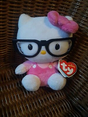 Hello Kitty TY Beanie Plush BNWT pink with glasses