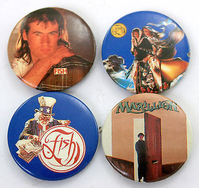 FISH AND MARILLION Button Badges 4 x Vintage Pin Badges