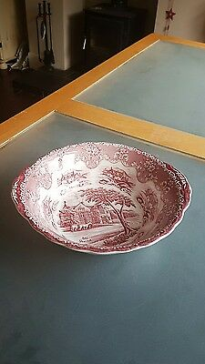 "Vintage Grindley English country inns serving bowl red & white ""The Peacock"""