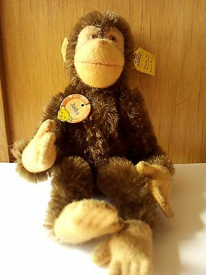Vintage 1950s or 1960s Steiff Sitting Jocko Monkey Chimpanzee - Tags and Button