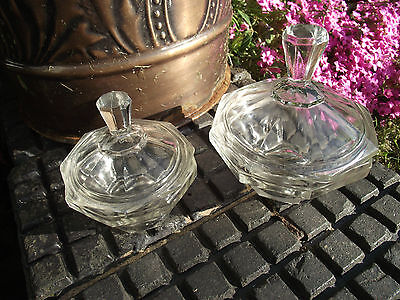 Dressing Table Trinket Pots - Art Deco Clear Glass German ? Czech ?