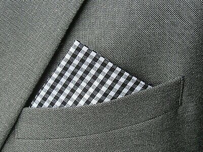 NAVY BLUE POCKET SQUARE HANDKERCHIEF  navy blue check GINGHAM cotton