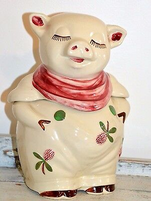 "Vintage Signed ""Patented Smiley U.S.A"" Pig Pink Flowers/Scarf Cookie Jar,"