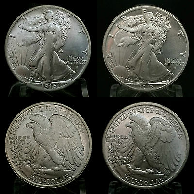 Pair of Two Sided 1916 1917 Walking Liberty Half Dollar Coins Double Head Tails